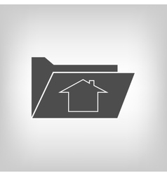 Computer folder with house sign vector image vector image
