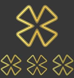 Golden line cloverleaf logo design set vector