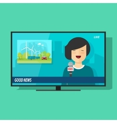 Good tv news flat cartoon vector