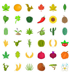 Green plant icons set cartoon style vector