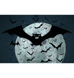 Grunge Halloween bat background vector image