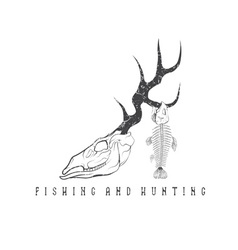 hunting and fishing vintage grunge emblem with vector image vector image
