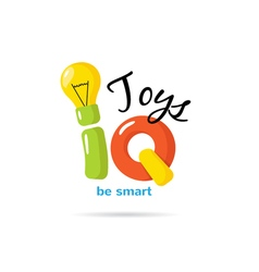 Iq toys creative logo with light bulb kids vector