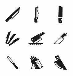 Kitchen knife icon set vector