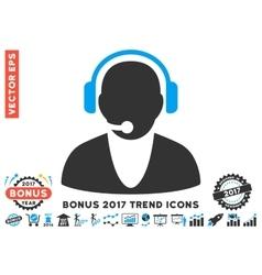 Operator flat icon with 2017 bonus trend vector