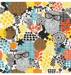 Owls on the field seamless pattern vector