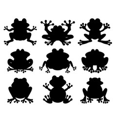 silhouettes of frogs vector image vector image