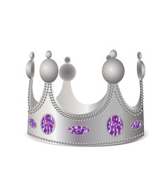 Silver crown with gems vector