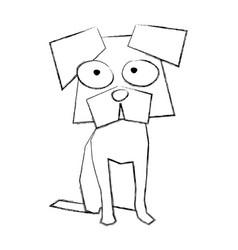 sketch draw funny doggy cartoon vector image