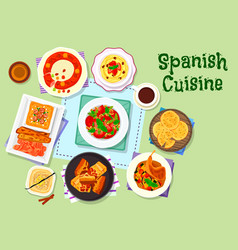 Spanish cuisine dinner menu with dessert icon vector