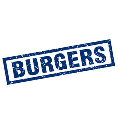 Square grunge blue burgers stamp vector