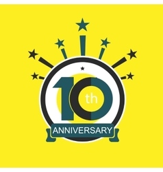 Ten symbol years anniversary logo discount vector