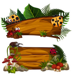 two wooden signs with many insects vector image vector image