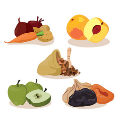 Vegetables peaches cereal apples dried fruit vector