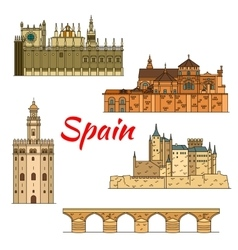 Historical travel landmarks of spain linear symbol vector