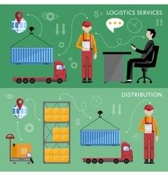 Warehouse management concept flat design vector