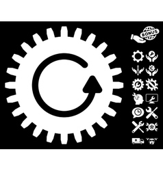 Rotate cog icon with tools bonus vector