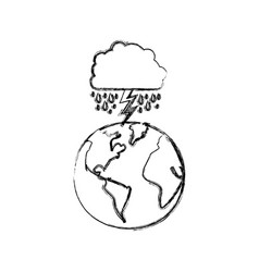 monochrome blurred contour of cloud with rain and vector image