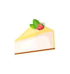 Cheesecake with raspberry vector