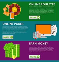 Set of 3 internet gambling flat banners poker and vector