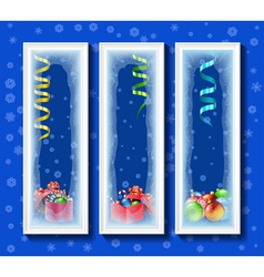 Christmas toys in the framework covered with frost vector image