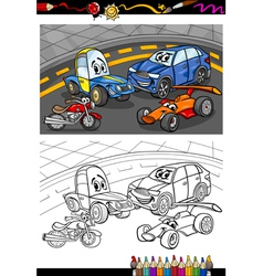 Cartoon cars for coloring book vector