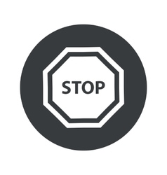 Monochrome round stop icon vector