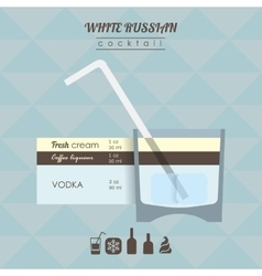 White russian cocktail flat style vector
