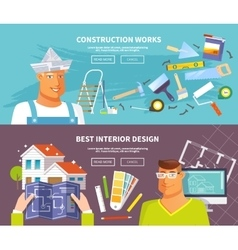 Renovation banner set vector