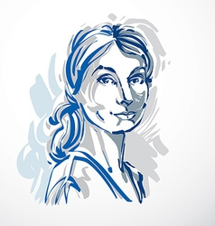 Art drawing portrait of confident girl isolated on vector
