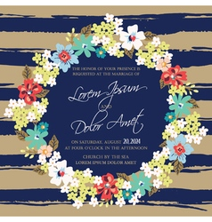 Wedding invitation card with wreath vector