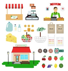 Supermarket icons food and drinks basket and money vector