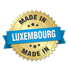 Made in luxembourg gold badge with blue ribbon vector