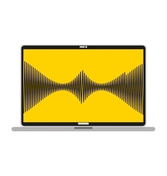 Laptop with musical waves isolated icon design vector