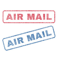 Air mail textile stamps vector