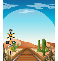 Background scene with railroad in desert field vector