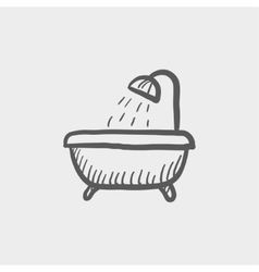Bathtub with shower sketch icon vector image