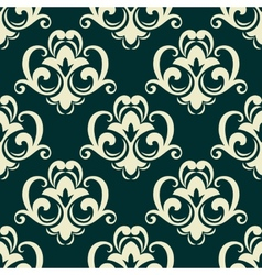 Beige on green seamless floral pattern vector