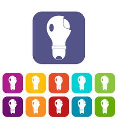 broken lightbulb icons set flat vector image vector image