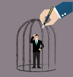 Businessman standing in a hand drawn cage vector