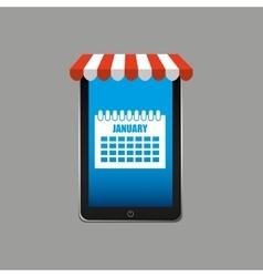 calendar e-commerce concept hand holding vector image vector image