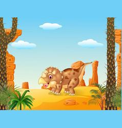 Cartoon triceratops three horned dinosaur vector