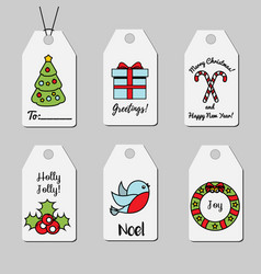Christmas and new year gift tags shopping tags vector