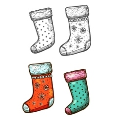 Christmas gift stockings isolated sketch icons set vector