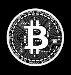 Crypto currency bitcoin black and white symbol vector