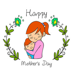 Cute mother day style collection vector