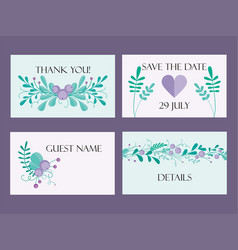 Cute wedding card template with hand-drawn floral vector