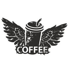 disposable coffee cup with wings and straw vector image