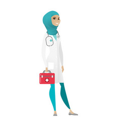 Doctor holding first aid box vector