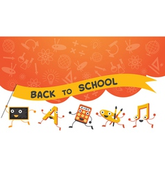 Education characters run back to school background vector